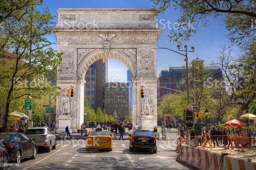 Washington Square Arch,  5th Avenue, Manhattan, New York. stock photo