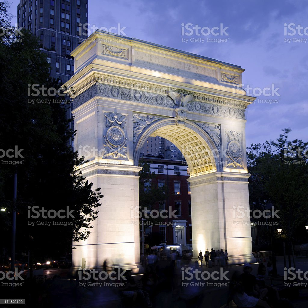 Washington Square Arch at Greenwich Village in New York City stock photo