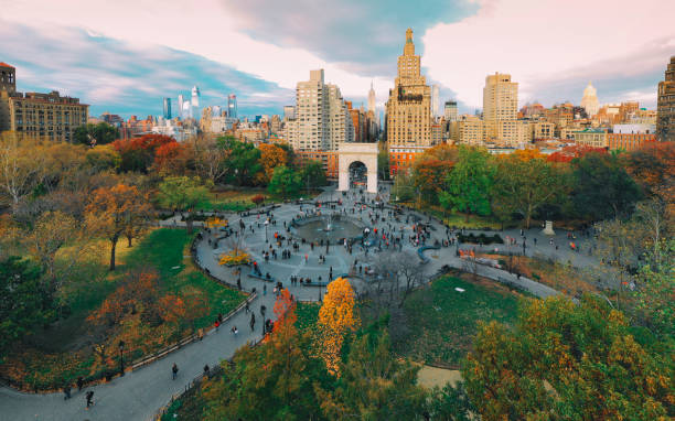 Washington square park aerial view New York City stock photo
