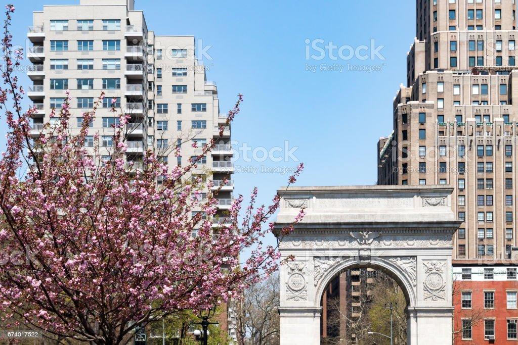 Washington Square Park Arch in Spring - New York City stock photo