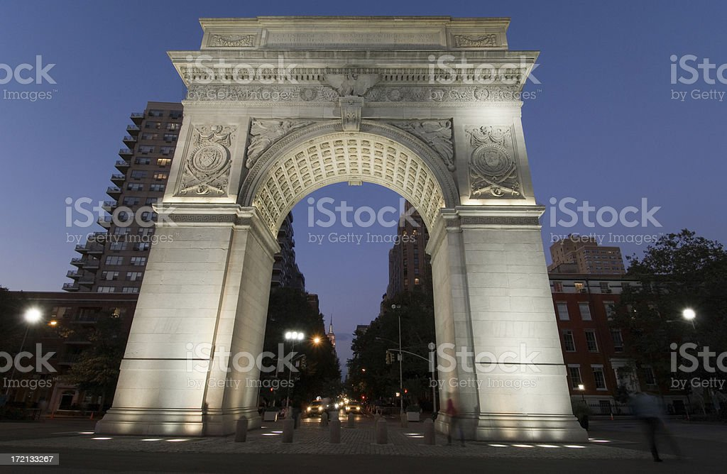 Washington Square Park at Night stock photo