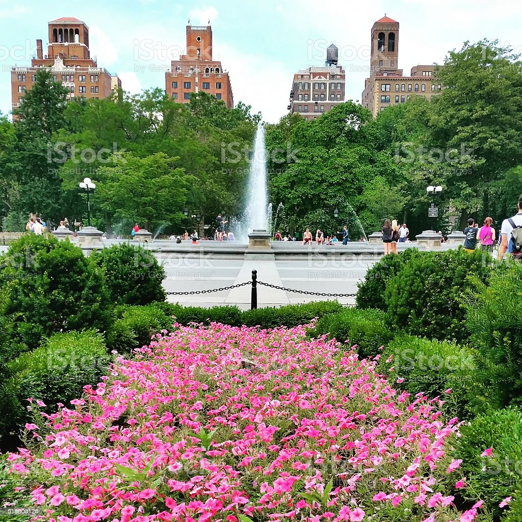 NYC Washington Square Park Urban Travel Destination Summer Flowers stock photo