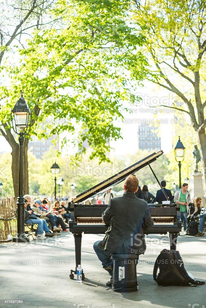 Washington Square Pianist New York stock photo