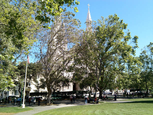Washington Square view with Saints Peter and Paul Church behind the trees stock photo
