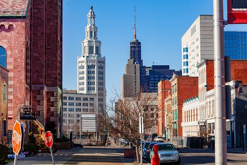 View Washington St from Saint Michael Church in Buffalo, NY, USA
