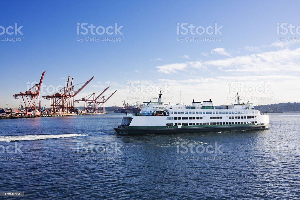 Washington State Car Ferry Leaving Dock royalty-free stock photo