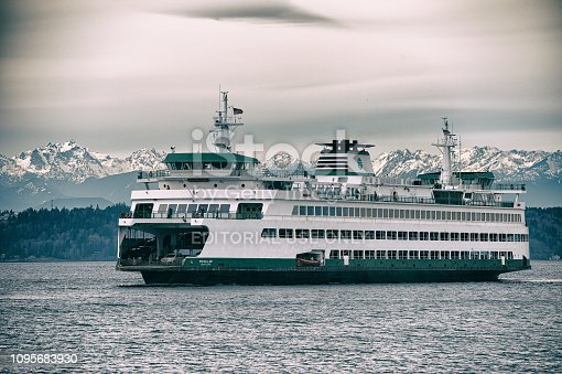 Edmonds, Washington United States - January 28, 2017: Washington State Ferry Puyallup arriving Edmonds Ferry Terminal.