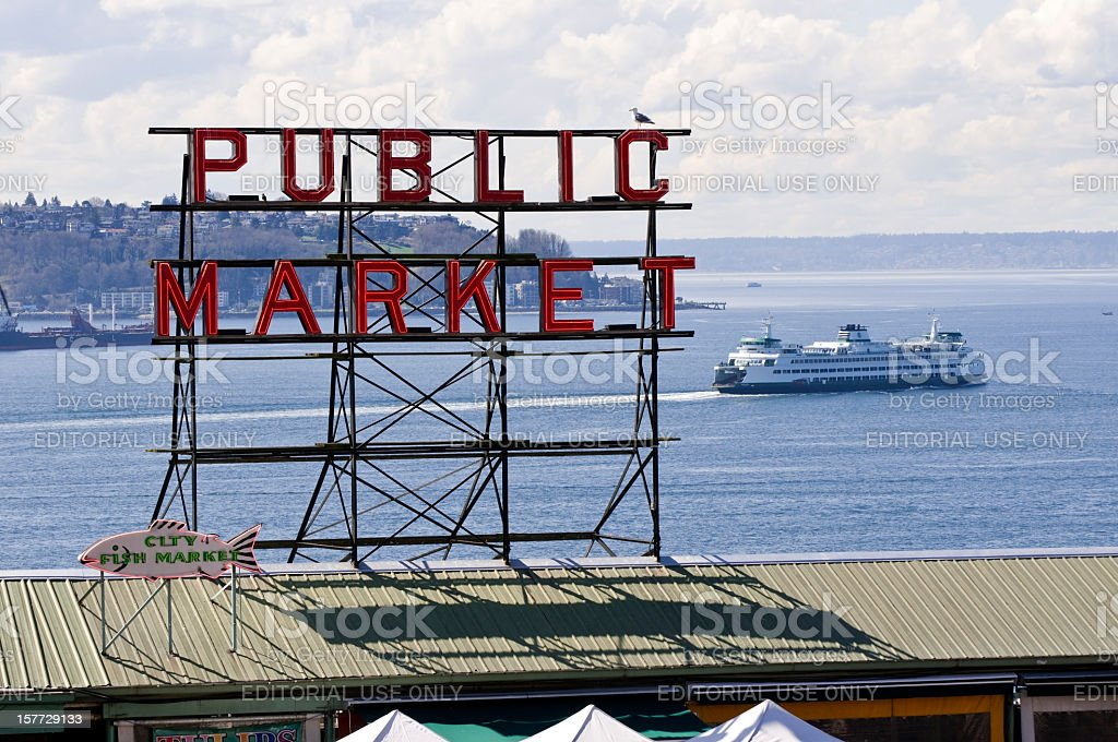 Pike Place Market and Seattle Ferry stock photo