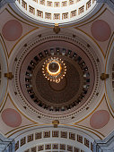 This image shows the interior rotunda ceiling of the Washington State Legislative Building at the State Capitol campus in Olympia, Washington.