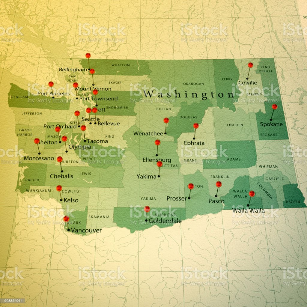 Washington State Map Square Cities Straight Pin Vintage Stock Photo