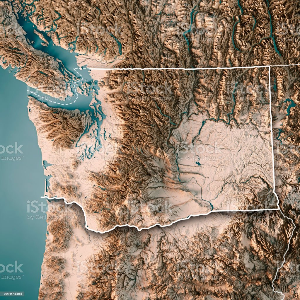 Washington State Usa 3d Render Topographic Map Neutral Border Stock
