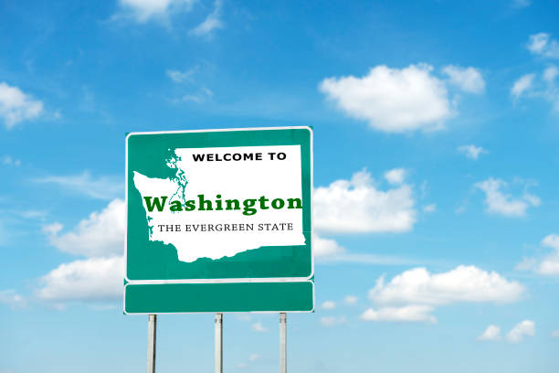 Washington State, Welcome road sign View of road sign washington state stock pictures, royalty-free photos & images