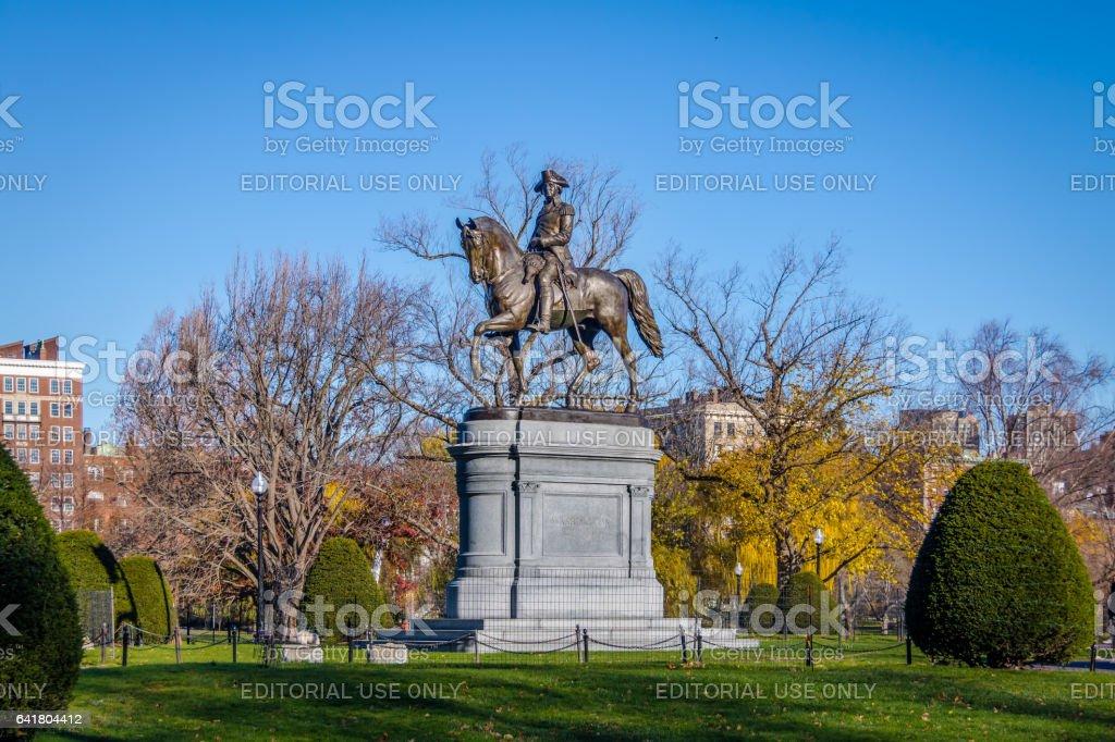 Washington Statue in Boston Public Garden - Boston, Massachusetts, USA stock photo