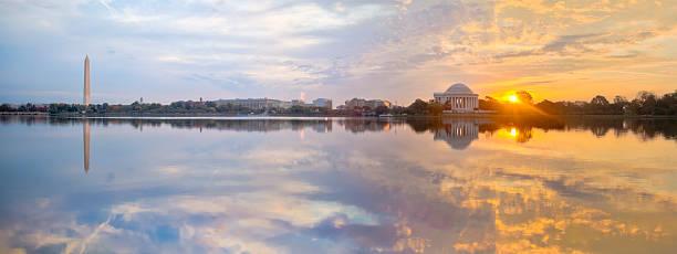 Washington Tidal Basin Sunrise with Beautiful Reflections Panorama stock photo
