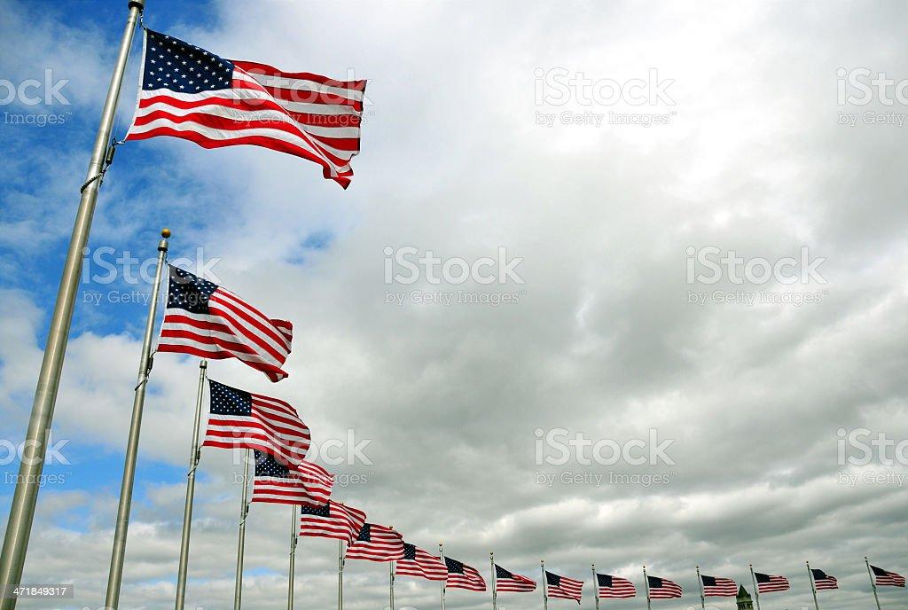 Washington-D.C., USA: circle of American flags, Washington Monument stock photo