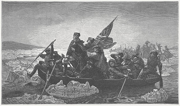 Washington crossing des Delaware River, 1776 – Foto