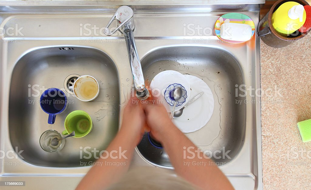 washing-up bowl person cleaning the kitchen sink royalty-free stock photo