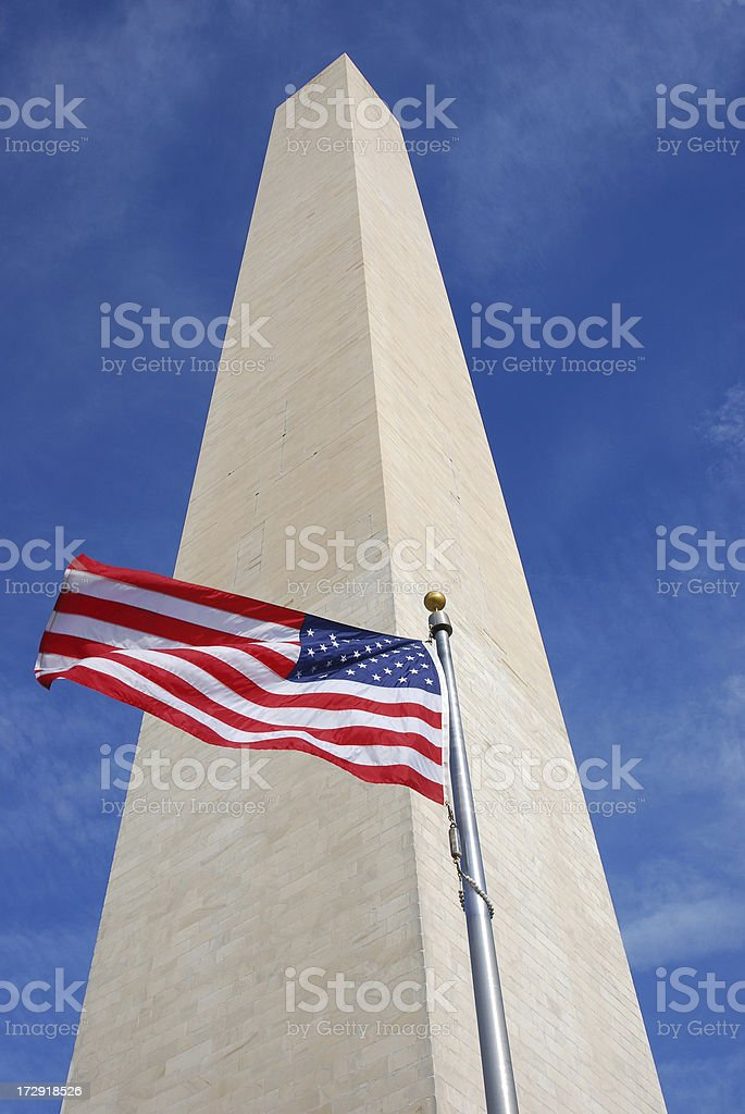 Washinton Monument and American Flag royalty-free stock photo