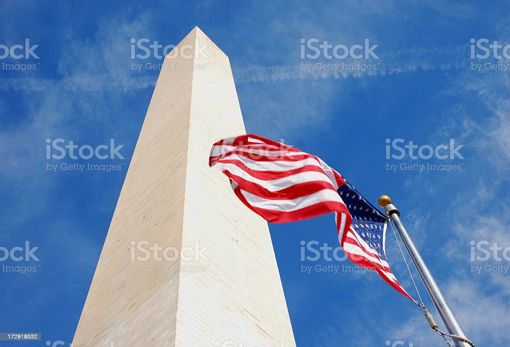 Washintong Monument and American Flag stock photo
