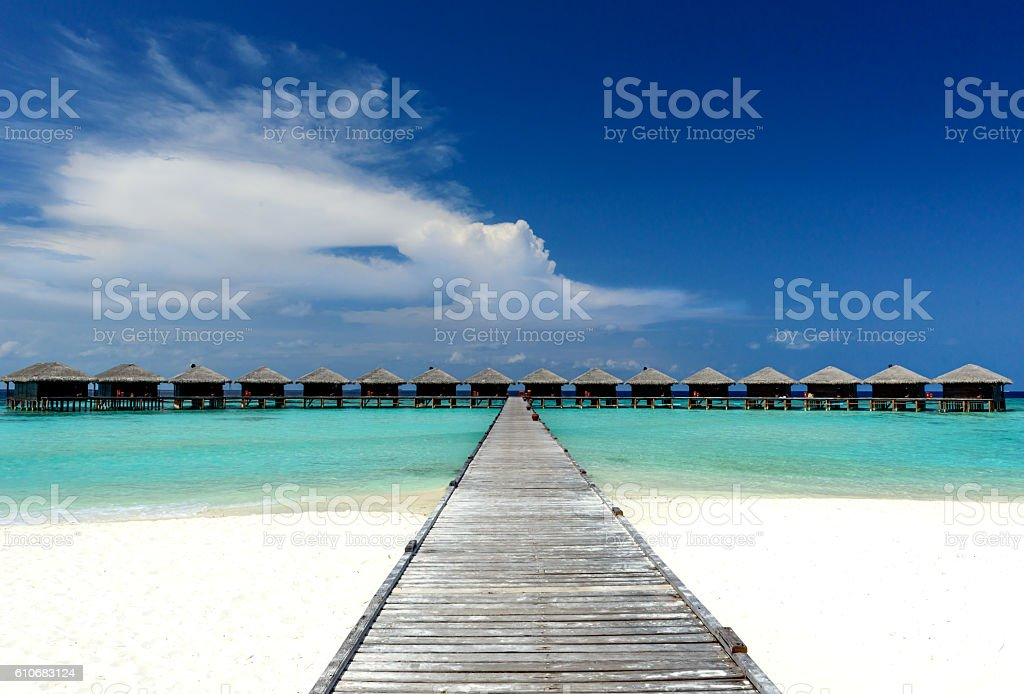 Wasserbungalows stock photo