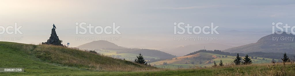 wasserkuppe mountain and the flyer monument germany stock photo
