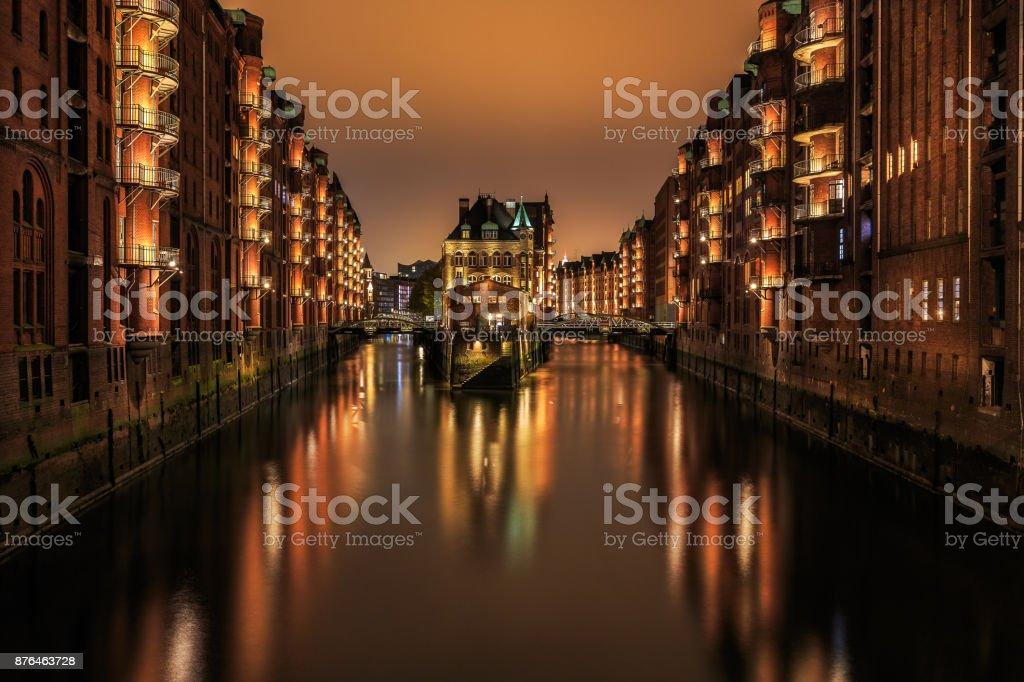 Wasserschloss Hamburg Hafencity stock photo