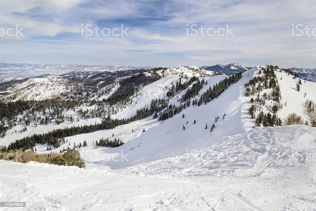 Wastach Mountain View from High Above Canyons stock photo