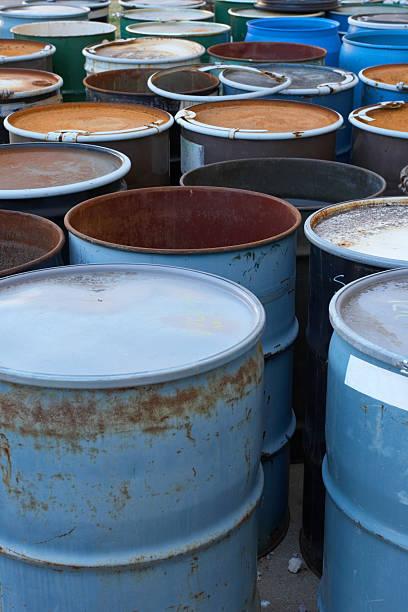 Waste Barrels stock photo
