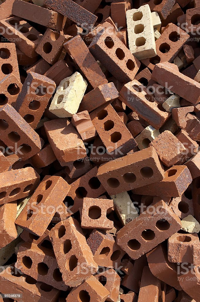waste bricks in a pile royalty-free stock photo