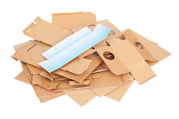 Waste cardboard for recycling isolated on white stock photo