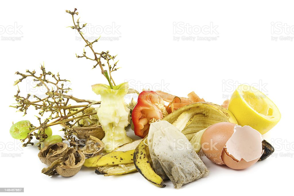 Waste food ready for compost on a white background stock photo