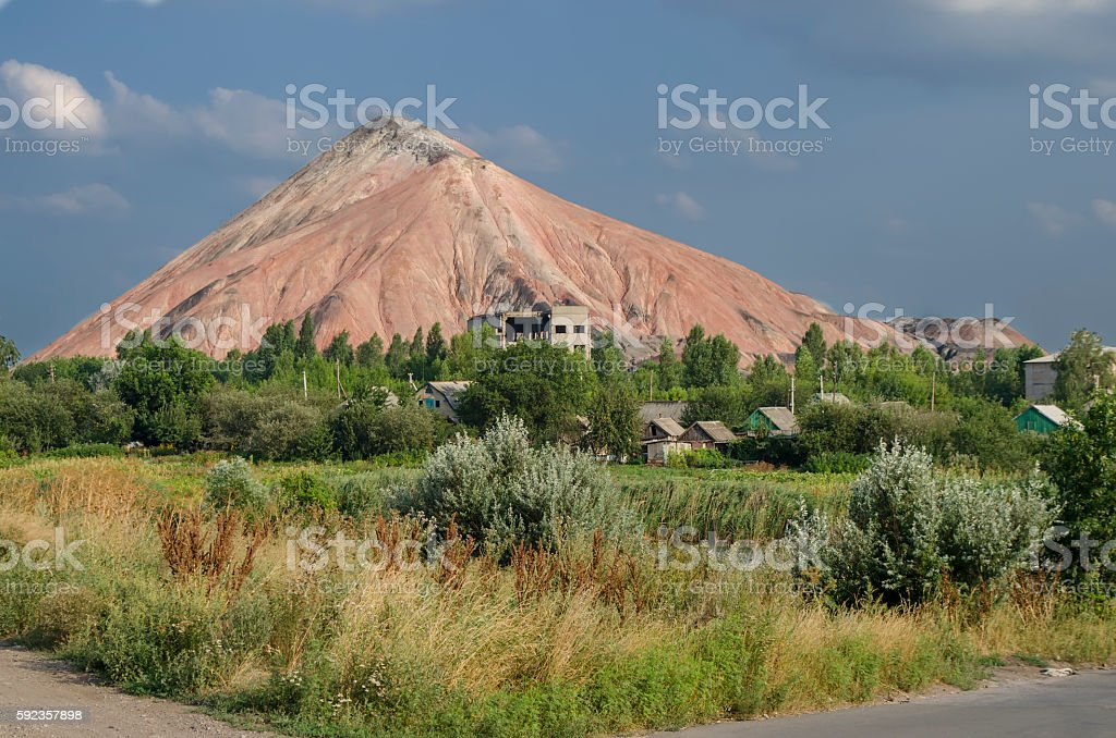 waste heap landscape on Donbass stock photo