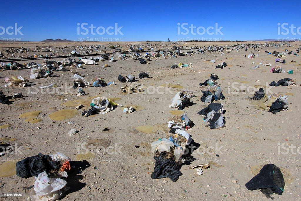 Waste laying everywhere in Uyuni, Bolivia stock photo