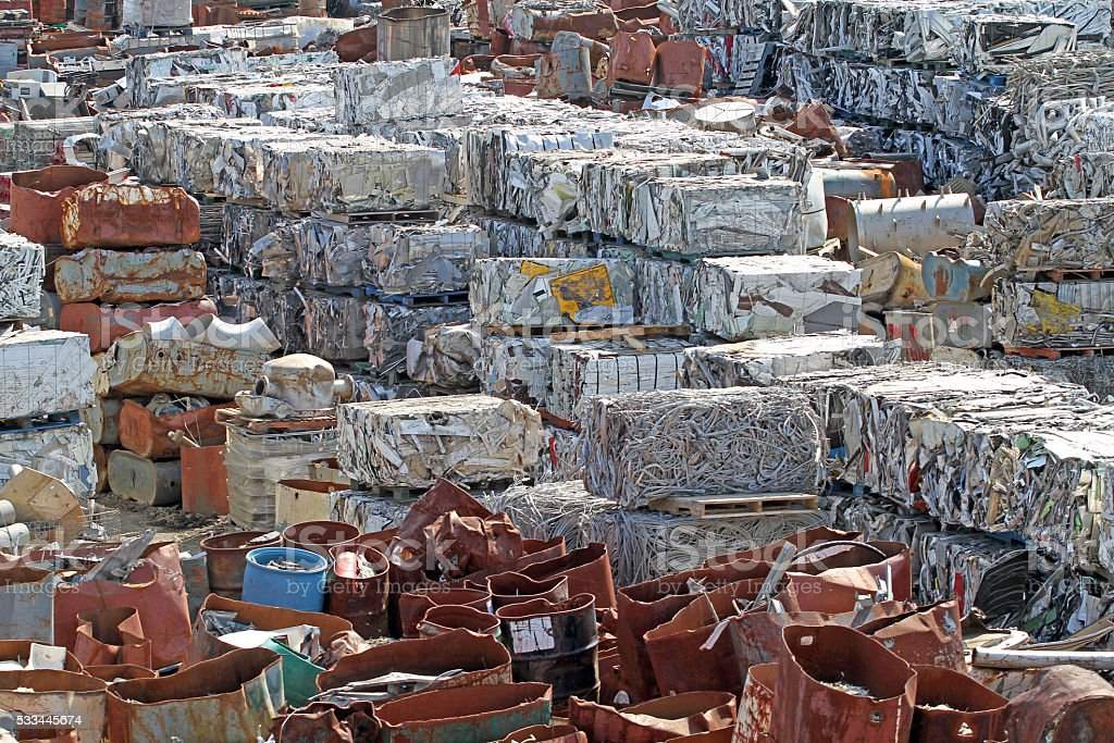Waste Management, Bundled Scrap Metal Ready For Shipping stock photo