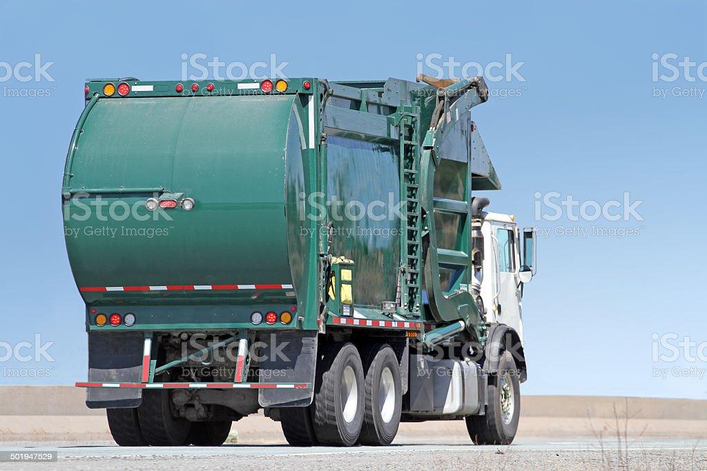 Waste Management, Industrial Waste Truck Travelling Highway, aka Garbage Truck stock photo