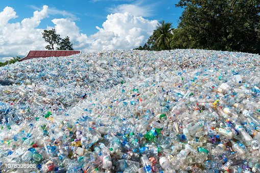 Ban Dung, Thailand - September 4, 2018: used plastic bottles collected for recycling.