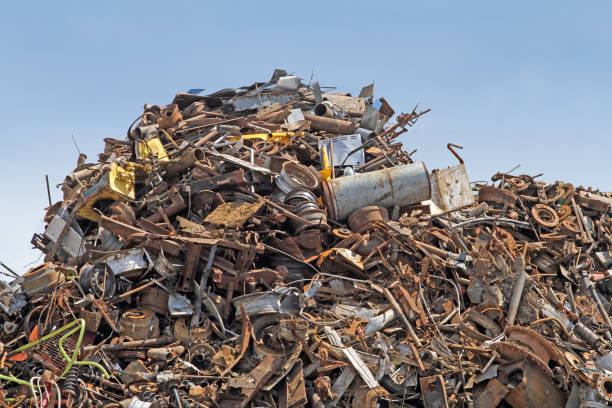 Waste Management, Scrap Metal Piled High Ready For Shipping To Recycling Facility stock photo
