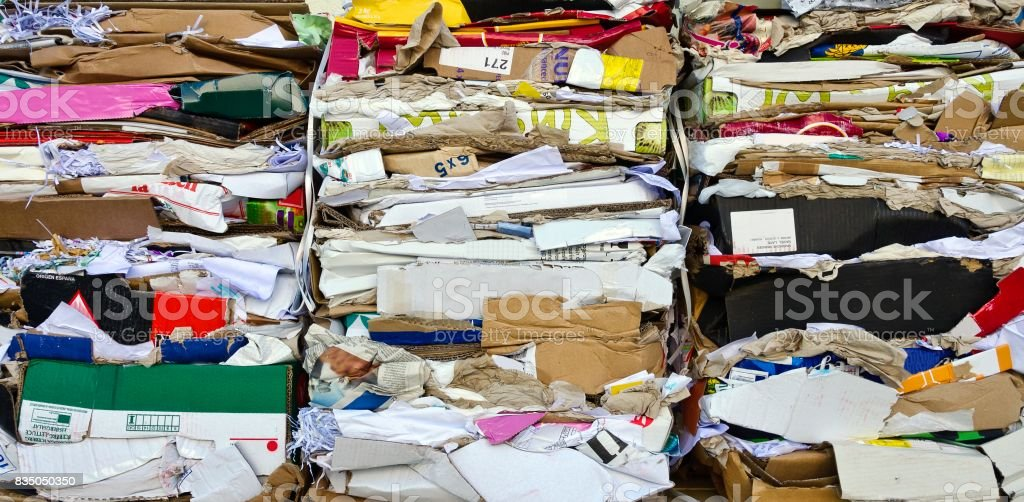 waste paper and carton stock photo