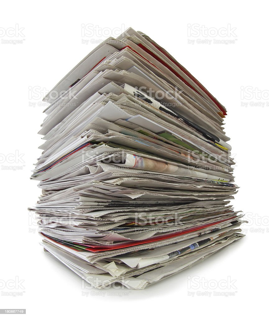 Waste Paper stack isolated. royalty-free stock photo