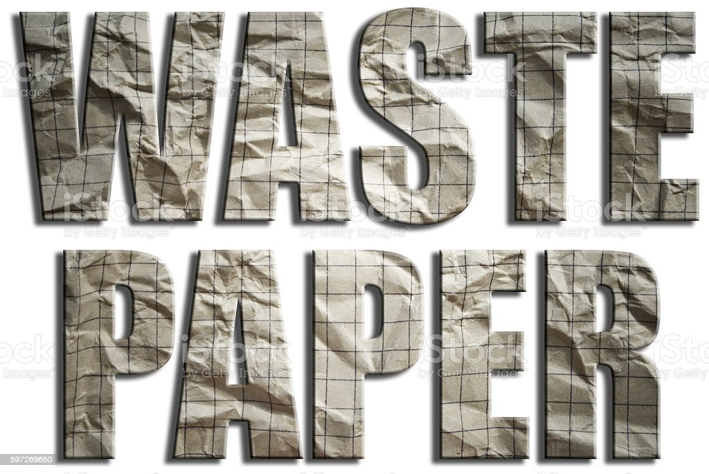 Waste paper. Wrinkled paper textured text. royalty-free stock photo