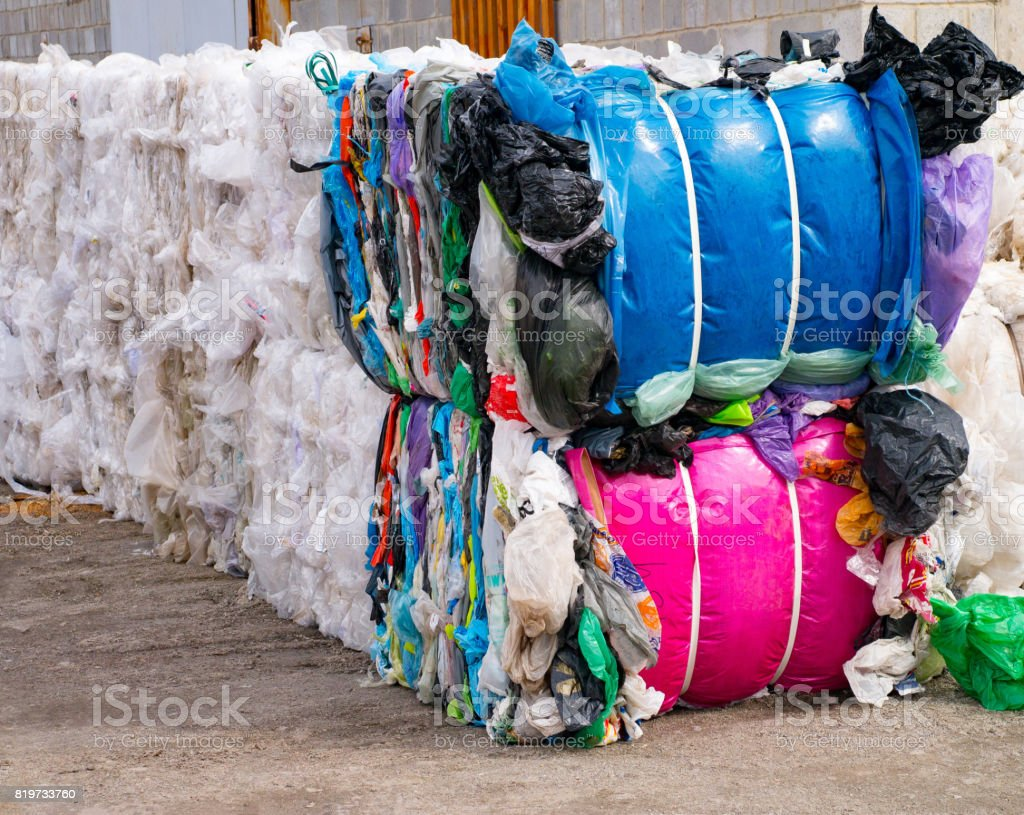 waste plastic bags and other types for recycling stock photo