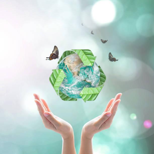 eco-freundliche konzept recycling abfallwirtschaft: elemente des bildes von der nasa eingerichtet - tag der erde stock-fotos und bilder