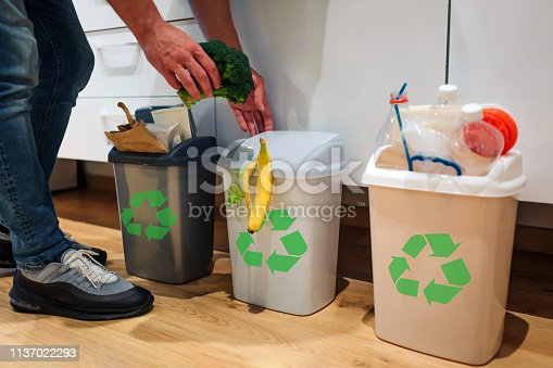 1137022295 istock photo Waste sorting at home. Cropped view of man putting broccoli in the garbage bin. Colorful trash bins for sorting waste in the kitchen 1137022293