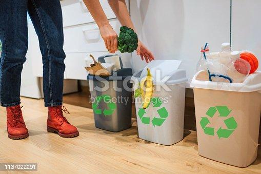 1137022295 istock photo Waste sorting at home. Cropped view of woman putting broccoli in the garbage bin. Colorful trash bins for sorting waste in the kitchen 1137022291