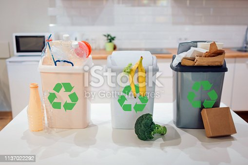 1137022295 istock photo Waste sorting at home. Protect the environment. Colorful garbage bins with recycling icon full of plastic, food, paper on the table close-up 1137022292