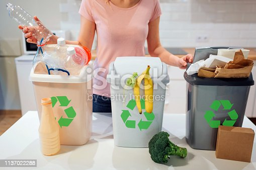 1137022295 istock photo Waste sorting at home. Recycling. Woman putting plastic bottle in the garbage bin in the kitchen 1137022288