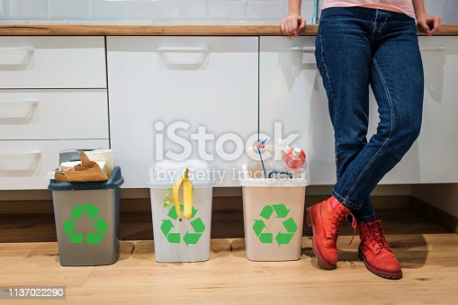 1137022295 istock photo Waste sorting. Cropped view of colorful garbage bins filled with plastic, bio food, paper near womans legs in the kitchen 1137022290