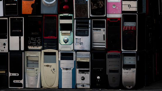 Waste Stacks of old personal computers and pc cases