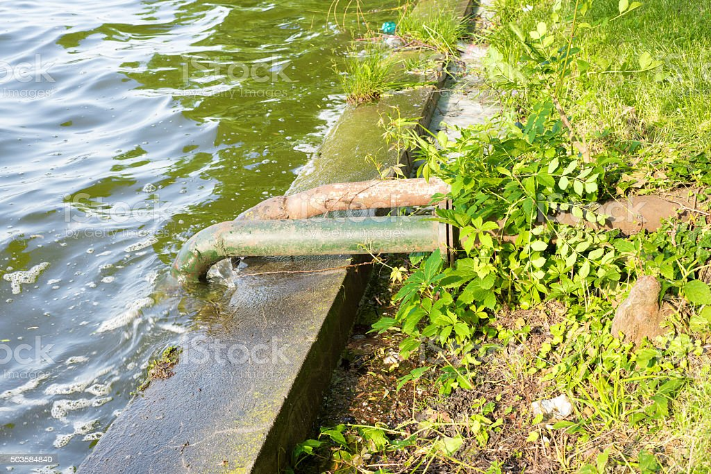 Waste water pipes stock photo