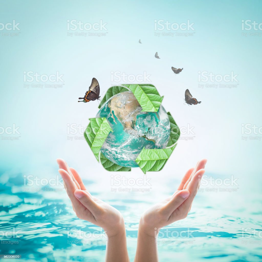 Waste water recycle, eco friendly and saving biological sustainability concept: Elements of this image furnished by NASA stock photo